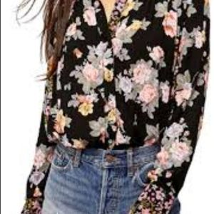 Free people long sleeve button down blouse